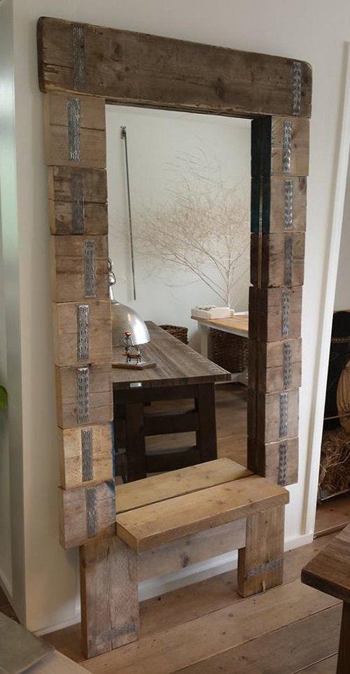 Houten spiegels voor binnengebruik of buiten overkapt ook for Houten spiegel